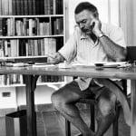 Hemingway ved sin skrivepult i Key West